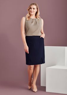 Women's Front Pleat Detail Straight Skirt