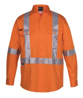 JB's Hi-Vis (D+N) L/S 150G Cross Back Tape Shirt