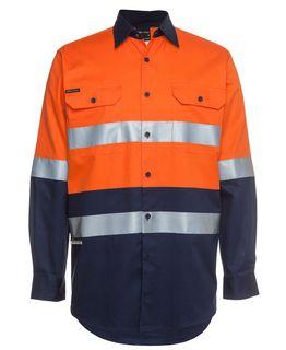 JB's Hi Vis L/S (D+N) 150G Work Shirt, size 8XL-9XL