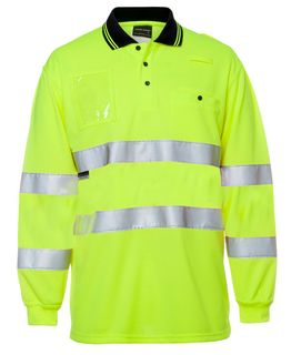 JB's Hi-Vis Bio Motion (D+N) L/S Polo with Reflective Tape