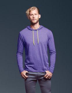 Anvil Adults Lightweight Long Sleeve Hooded T-Shirt