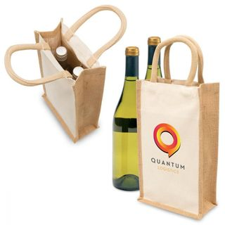 Eco Jute 2 Bottle Wine Bag