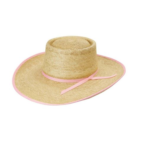 "Light Pink Bound 4"" Brim Palm Hat - HG4AOKRL"