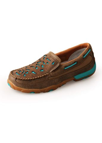 Turquoise Cut Out Slip On Mocs - TCWDMS010