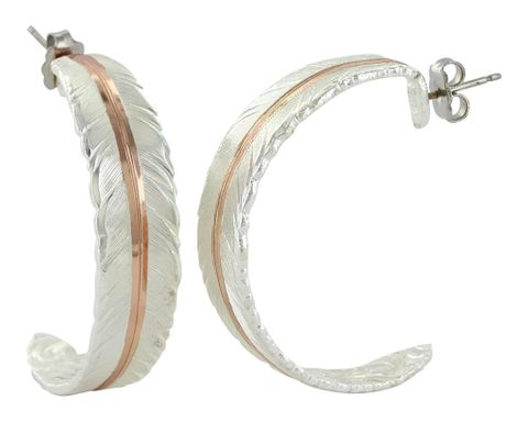 Feather Rose Gold Hoop Earrings - ER3430RG