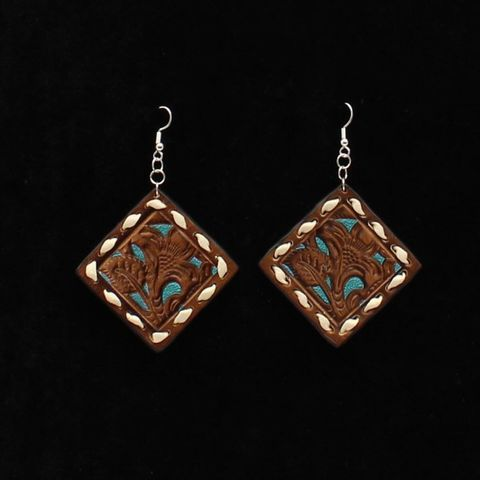 Tooled Leather Earrings - 30969