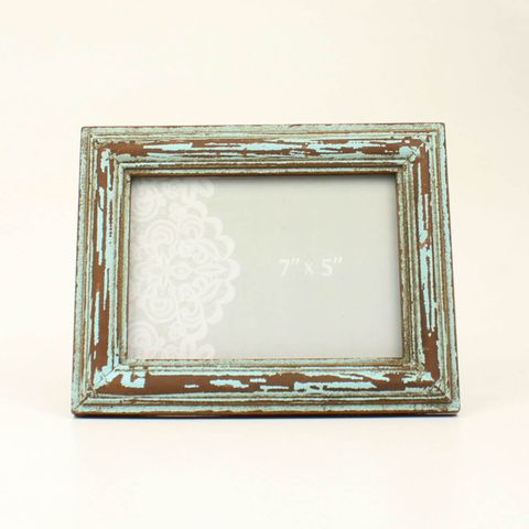 Distressed Turquoise Wood Frame - 94050