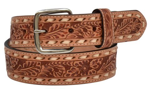 Tooled Floral Belt - D7347