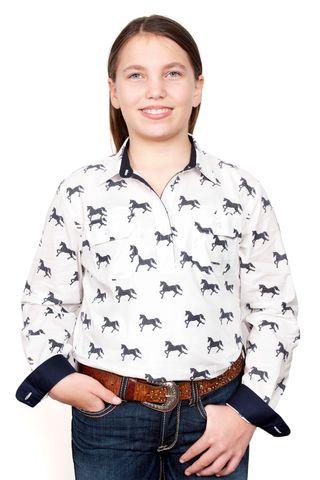 Girl's Harper Half Button L/S Shirt - GWLS2030