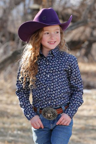 Girl's Horseshoe Print L/S Shirt - CTW3220025