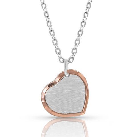 Perfectly Paired two-tone Heart Necklace - NC4452RG