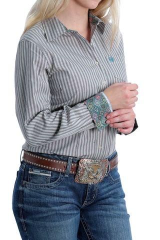 Women's Stretch Striped L/S Shirt - MSW9164162