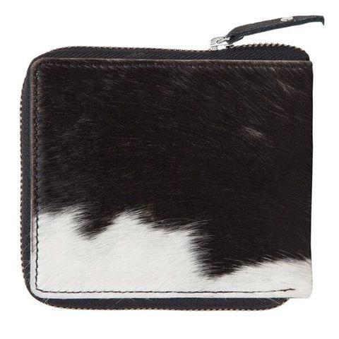 Women's Cowhide Zippered Wallet - CA04BLK