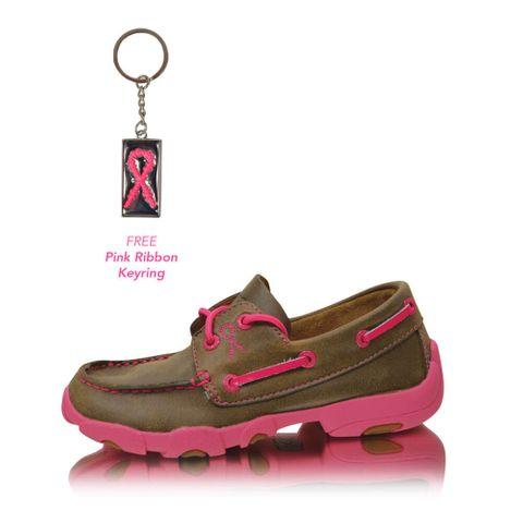 Pink Ribbon Cowkids Lace Up Mocs - TCYDM0015