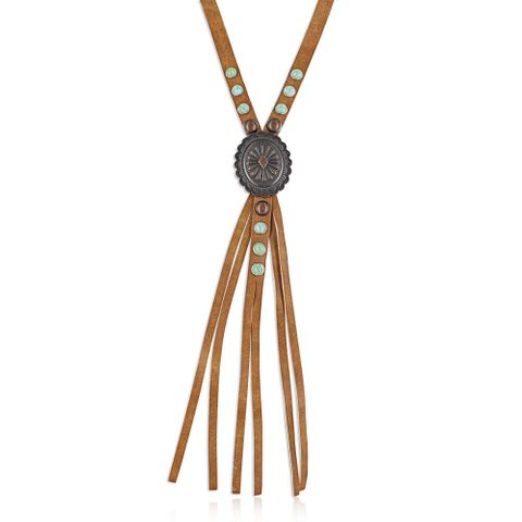 Gem Corded Leather Attitude Necklace - ANC4854