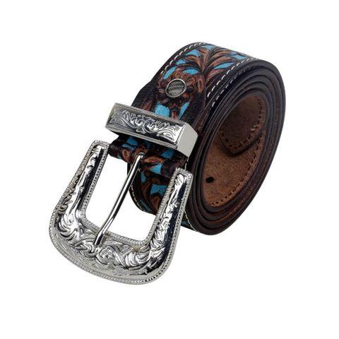 Women's Turquoise Hand Tooled Belt - S-2927