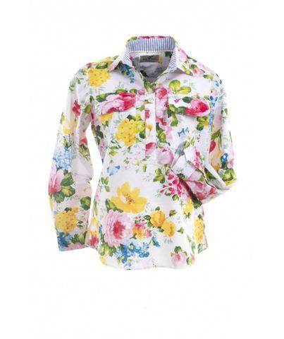 Women's Garden Flower Tab L/S Shirt - W03DGF