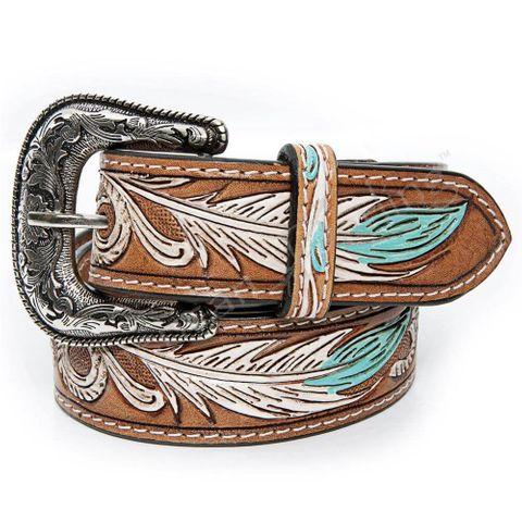 Women's Tooled Feather Belt - ADBLF107