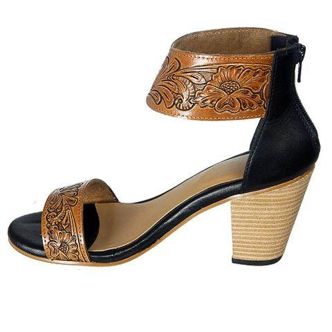 Women's Tooled Leather High Heel - ADFT110