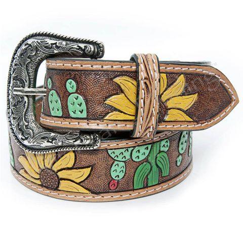 Women's Sunflower Tooled Belt - ADBLF101