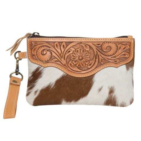 Women's Tooling Leather Cowhide Clutch - AC41TAN