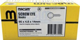 SCREW EYE HOOK - GALVANISED 95 X 4.8 X 14MM