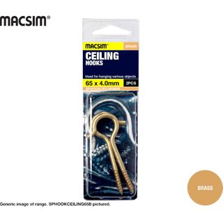 CEILING HOOK - BRASS PLATED 65 X 4.0MM SP