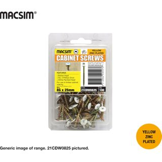 8gx25mm CABINET SCREWS - WHITE