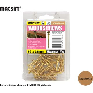 6G X 25MM BRASS WOODSCREW BP