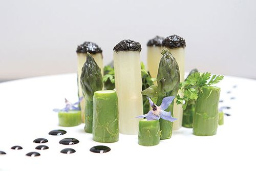 Caviar Sturia with White and Green Asparagus