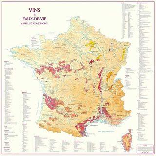 Map- Vineyards of France