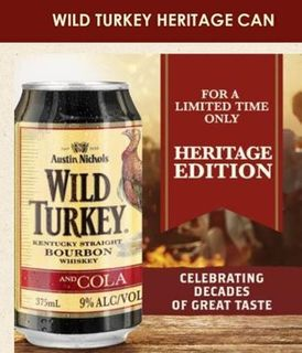 Wild Turkey Heritage 9% Can 375ml-24