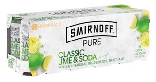 Smirnoff Pure Lim Soda 330ml Can 10PK x3