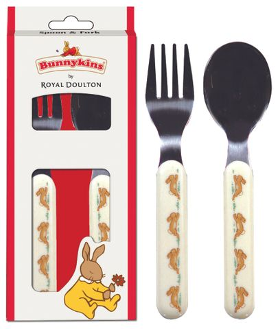 Bunnykins Spoon & Fork - Playing Design Red