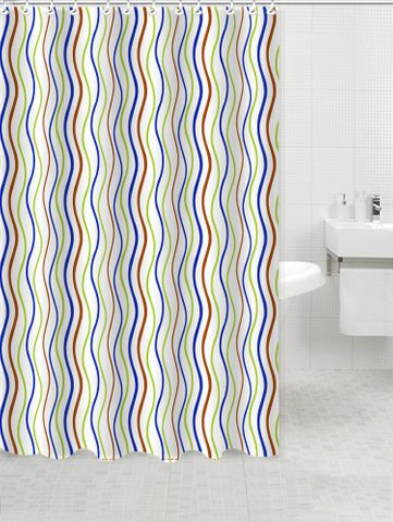 Printed PVC Shower Curtain Waves