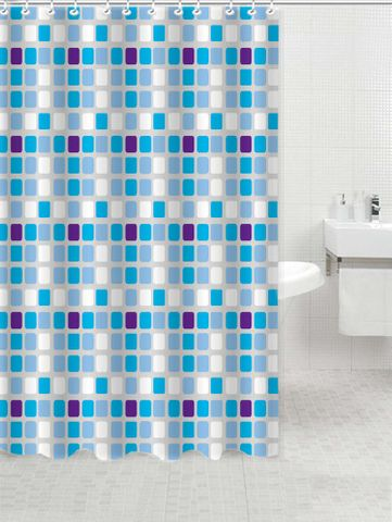 *Printed PVC Shower Curtain Blue Squares