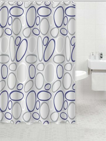*Printed PVC Shower Curtain Pebble Inc Rings