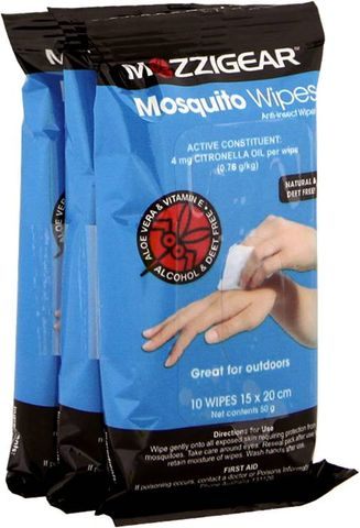 Mozzigear Mosquito Wipes -3 Sachets Of 10 Wipes