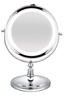 BodySense Short Round Salon Mirror Led Lighted 2x Magnification