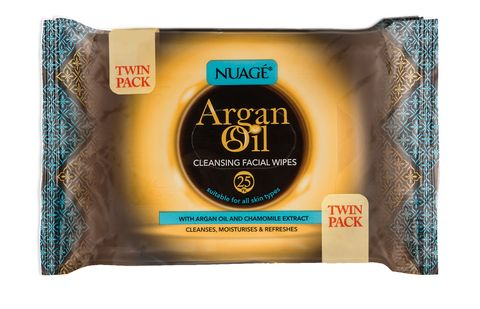 Nuage Argan Oil Cleansing Facial Wipes - Twin Pack (2x25)
