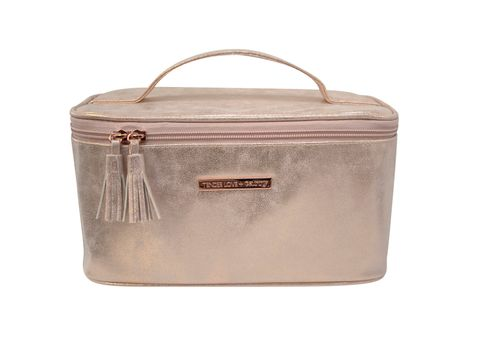 Metallic Suede Vanity Box Rose Gold