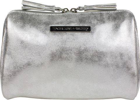 Metallic Suede Clamshell Silver