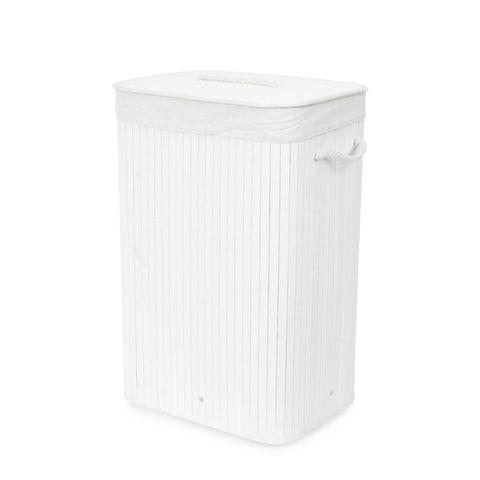 Laundry Hamper - Rectangular Bamboo White