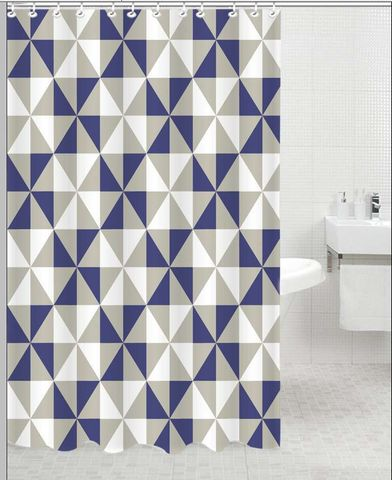 Printed Polyester Shower Curtain Blue Diamond