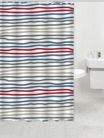 Printed Polyester Shower Curtain Multi Stripe