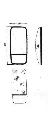 Mirror flat & convex 200x377mm L/H