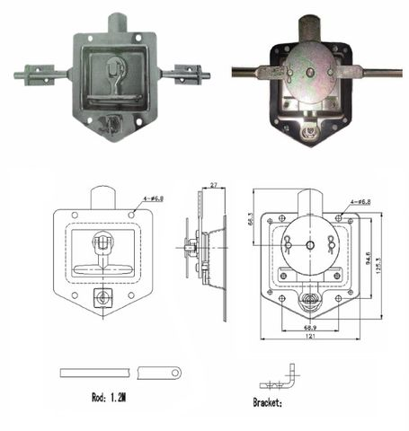 Lock Drop T s/s 3 way with studs-FS880