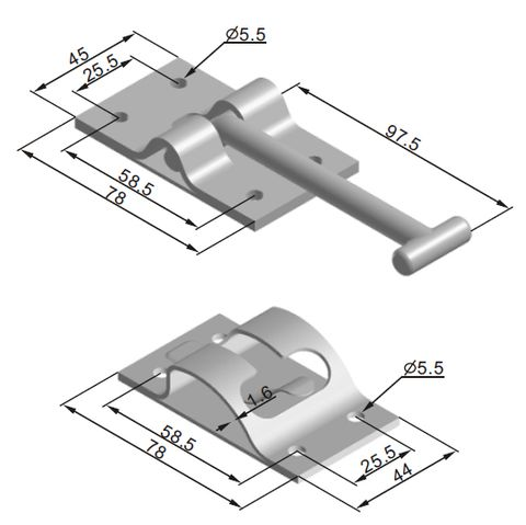 Hold Door hook and retainer plate