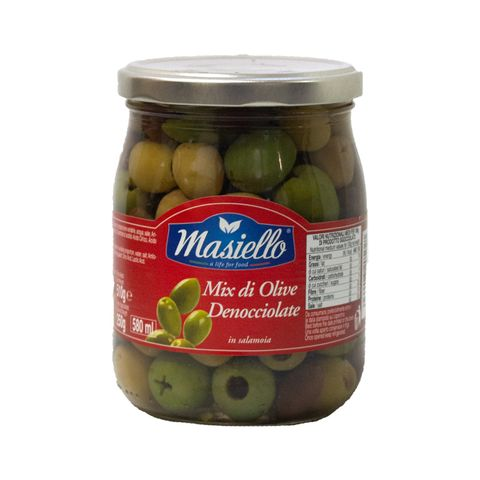 OLIVES MIXED GREEN PITTED 580ml JAR