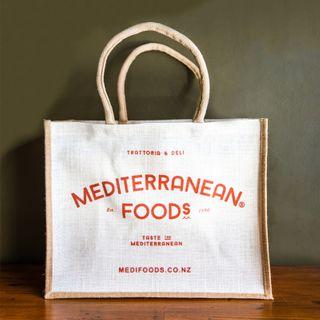 MEDITERRANEAN FOODS JUTE BAG LARGE